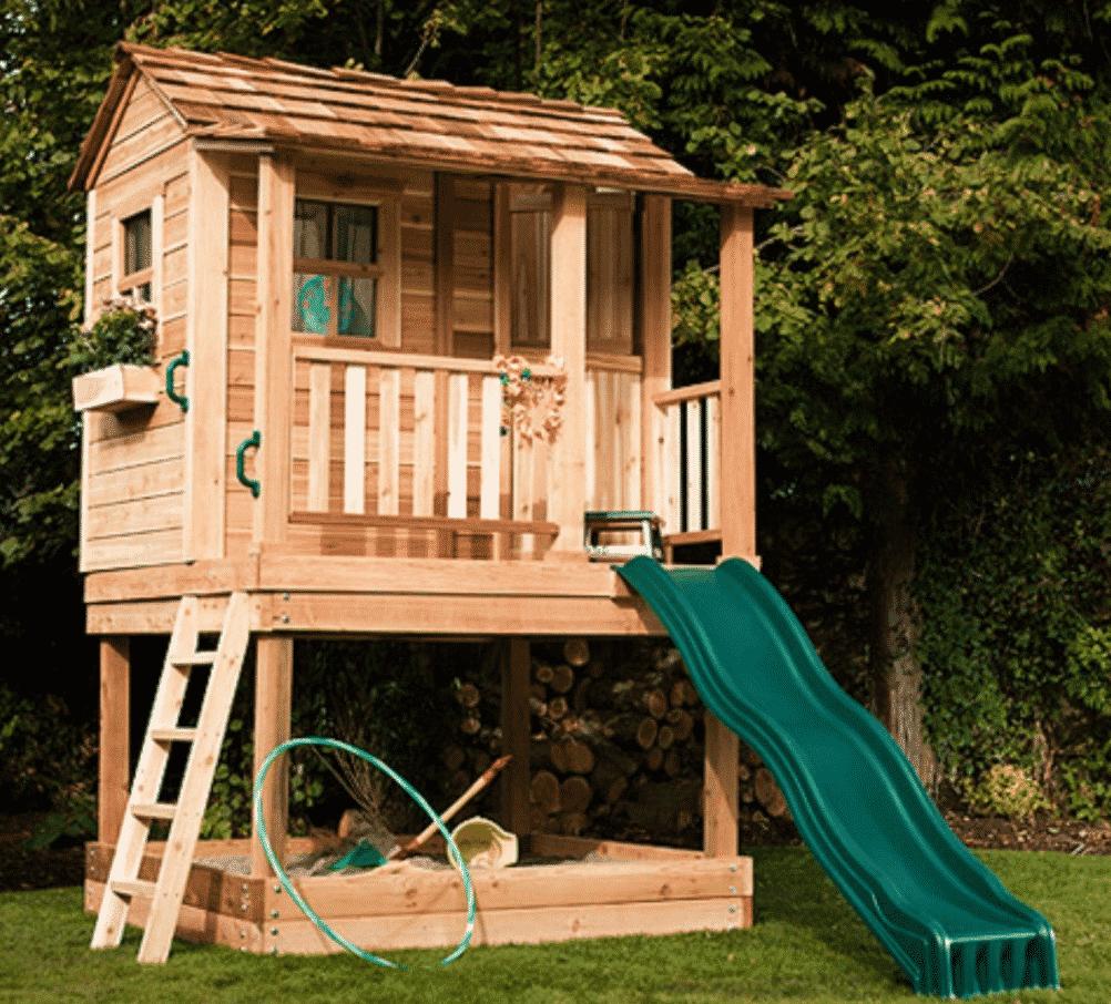 mediniai lauko vaikų nameliai